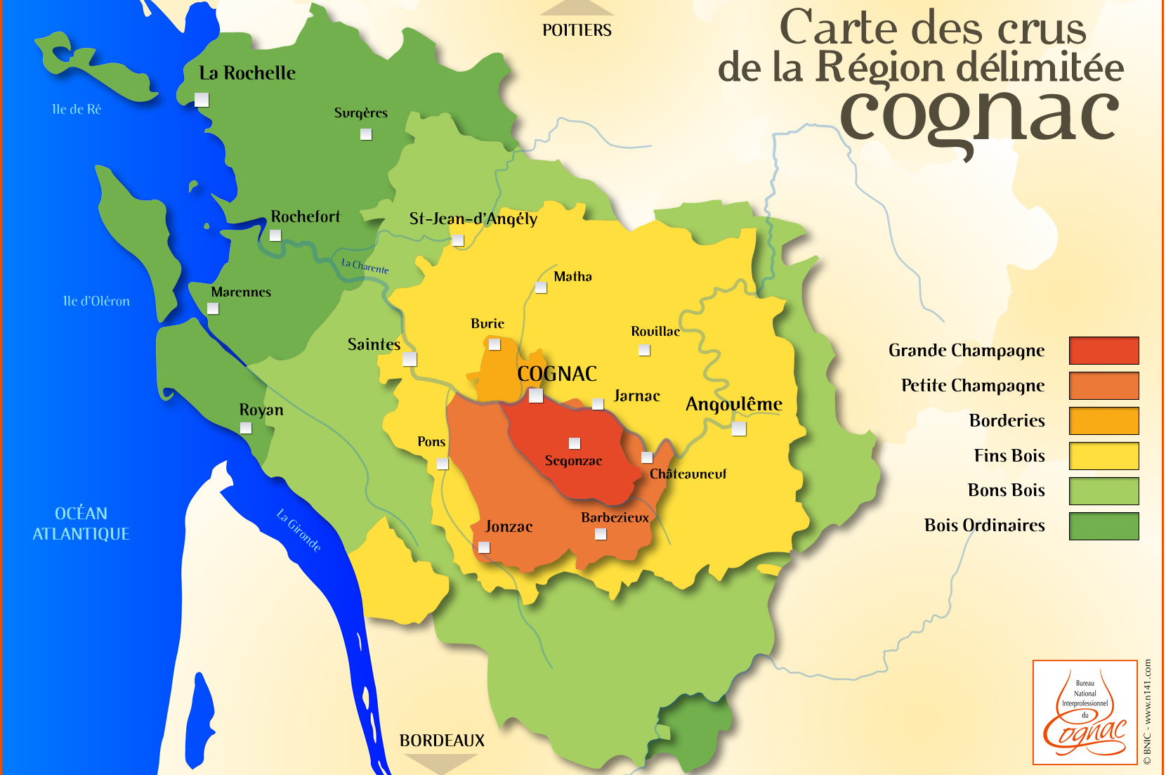 carte des crus de cognac