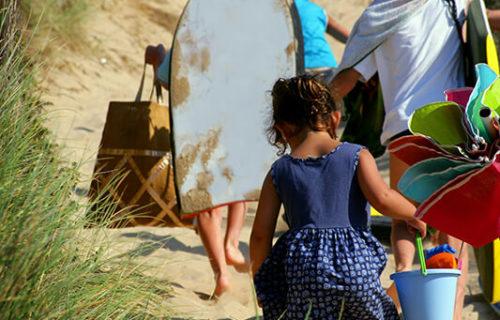 Retour de plage en famille