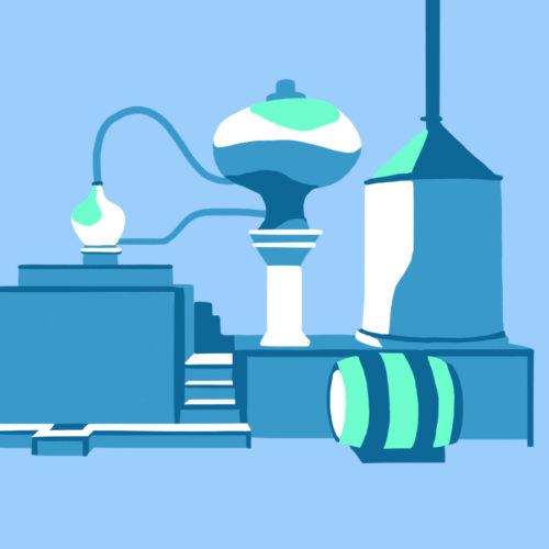 Illustration d'une distillerie