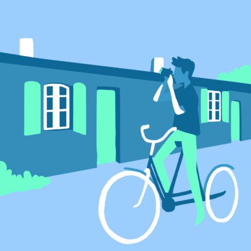 Illustration d'un vélo dans un village de l'Île d'Aix