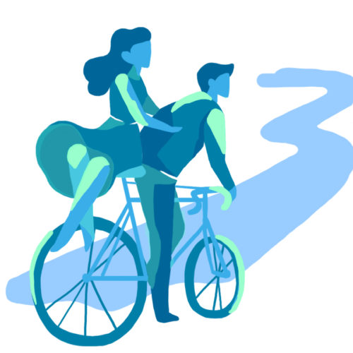 Illustration à vélo sur la coulée d'Oc